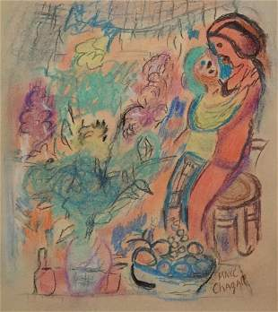 Marc Chagall mixed media on paper style Surrealism