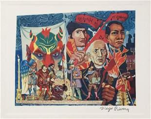Diego Rivera vintage litho Mexican revolution scene