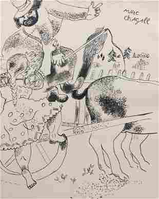 Marc Chagall ink on paper style Surrealism