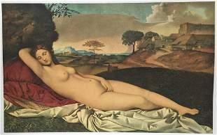 Giorgione lithograph print vintage naked Venus Italian
