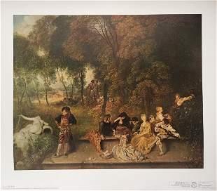 Antoine Watteau vintage litho print scene on the nature