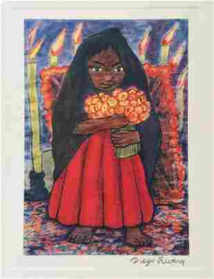 Diego Rivera vintage litho girl with flowers Mexican