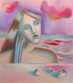Pastel painting on canvas Woman Portrait Contemporary