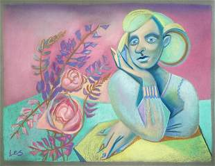 Pastel painting woman with flowers Cubism