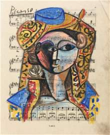 Pablo Picasso pastel, charcoal on paper Spanish Cubism