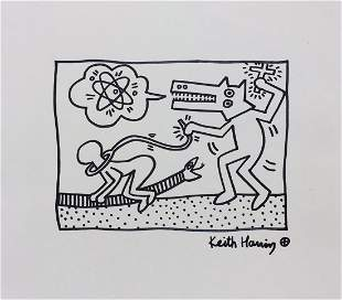 Keith Haring ink on paper American Pop Art style