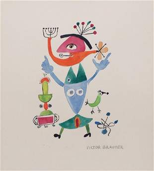Victor Brauner watercolor Romanian style Surrealism