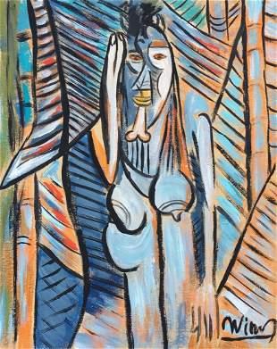 Wifredo Lam tempera on paper Cuban Surrealist style