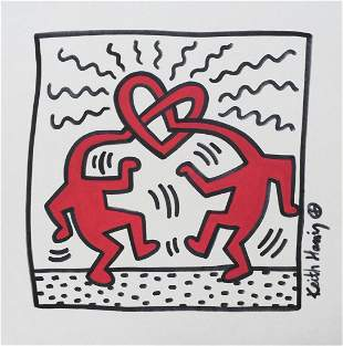 Keith Haring mixed media on paper American Pop Art