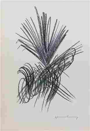 Hans Hartung pastel on paper French Abstract