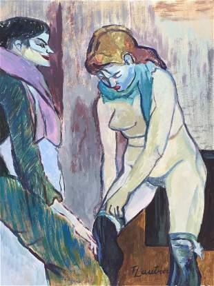 Henri de Toulouse Lautrec tempera on c/b French