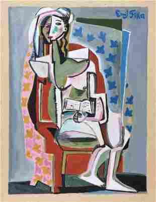 Emil Filla tempera gouache on paper Cubism style Czech
