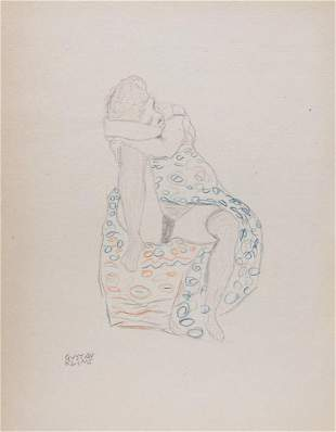 Gustav Klimt pencil on paper Austrian style Modern