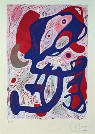 Surrealism linocut Spanish abstract art style