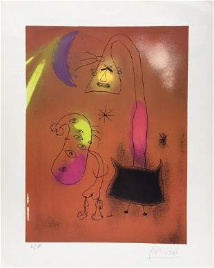 Surrealism lithograph Spanish abstract art style