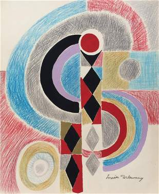 Sonia Delaunay mixed media on paper French, Ukrainian