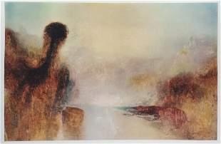 William Turner litho print vintage landscape English