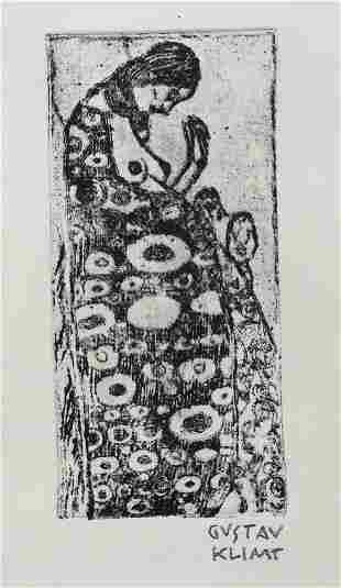 Gustav Klimt linocut etching Austrian Modernist
