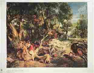 Peter Paul Rubens vintage litho print hunting scene