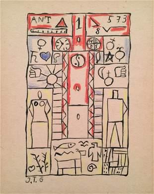 Joaquin Torres Garcia crayon on paper Modernist