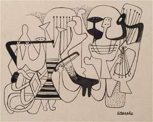 Mario Carreno ink on paper Cuban
