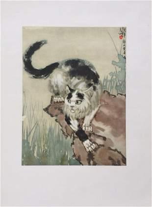 Set of 4 litho prints on thin paper Xu Beihong Chinese