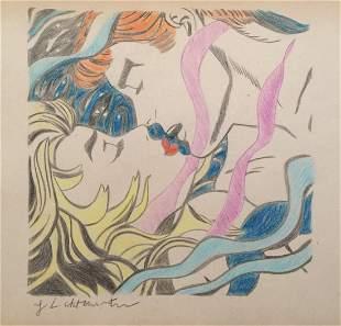 Roy Lichtenstein crayon on paper American