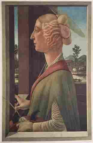 Sandro Botticelli lithograph print vintage Romanticism