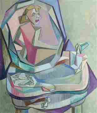 Naked woman Cubism Original oil painting on canvas