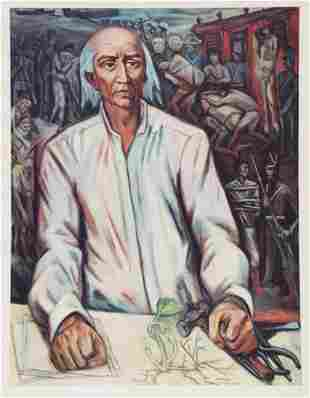 Alfredo Zalce offset print lithograph Mexican
