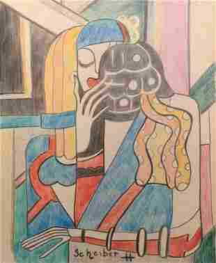 Hugo Scheiber crayon on paper style Modern
