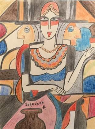 Hugo Scheiber crayon on paper style