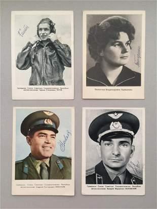 Soviet Propaganda Space autographs Set of 4 postcards