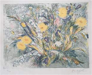 Marc Chagall lithograph on paper style French flowers