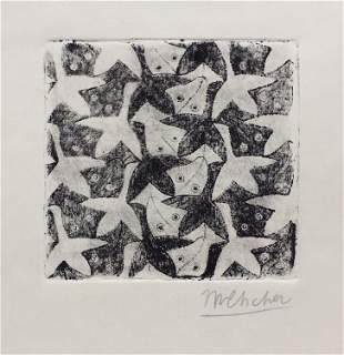 M.C. Escher linocut etching on paper Dutch