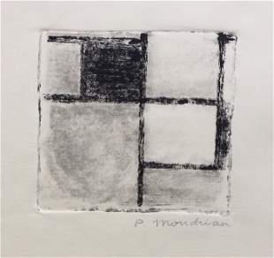Piet Mondrian linocut etching on paper Abstract Dutch