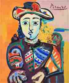 Pablo Picasso tempera on cardboard Spanish Cubism style
