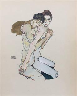 Egon Schiele tempera on paper Austrian