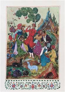 Set of 2 Folk Art Offset Lithograph Print on cardboard