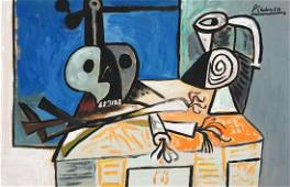 Pablo Picasso tempera on paper Spanish Cubism style