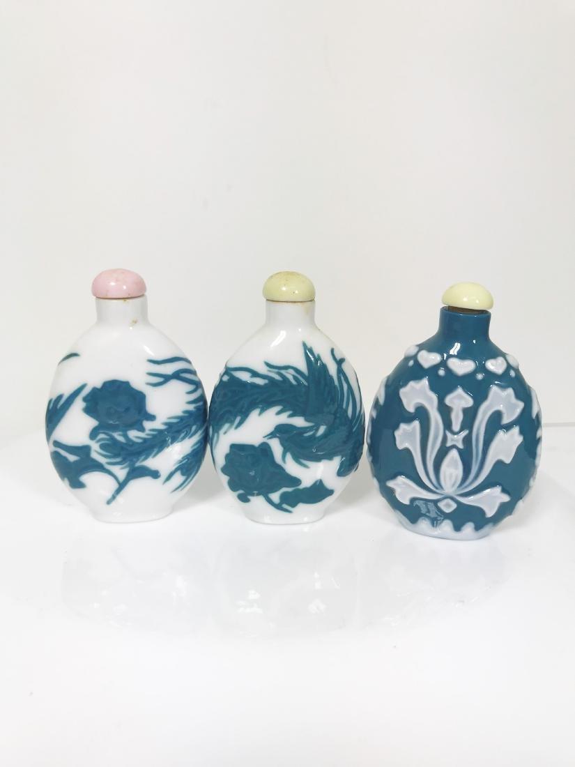 Vintage set- 3Chinese Peking Glass Style Snuff Bottle
