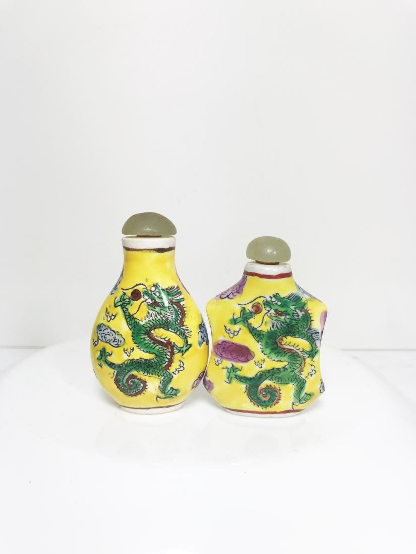 Pair Chinese Antique Snuff Bottle Yellow  Beautifully