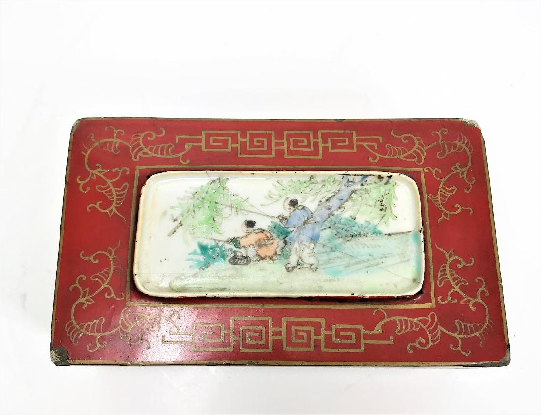 Antique Chinese Lacquer Wooden Box with Porcelain