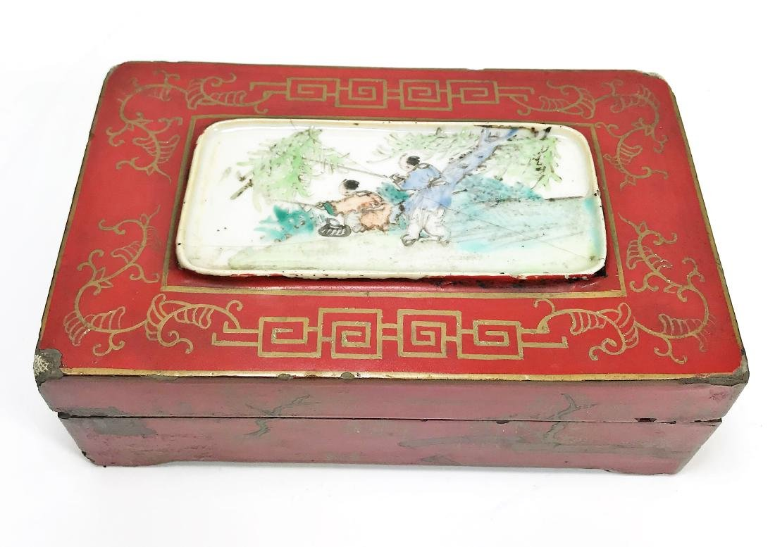 Antique Chinese Lacquer Wooden Box with Porcelain - 2