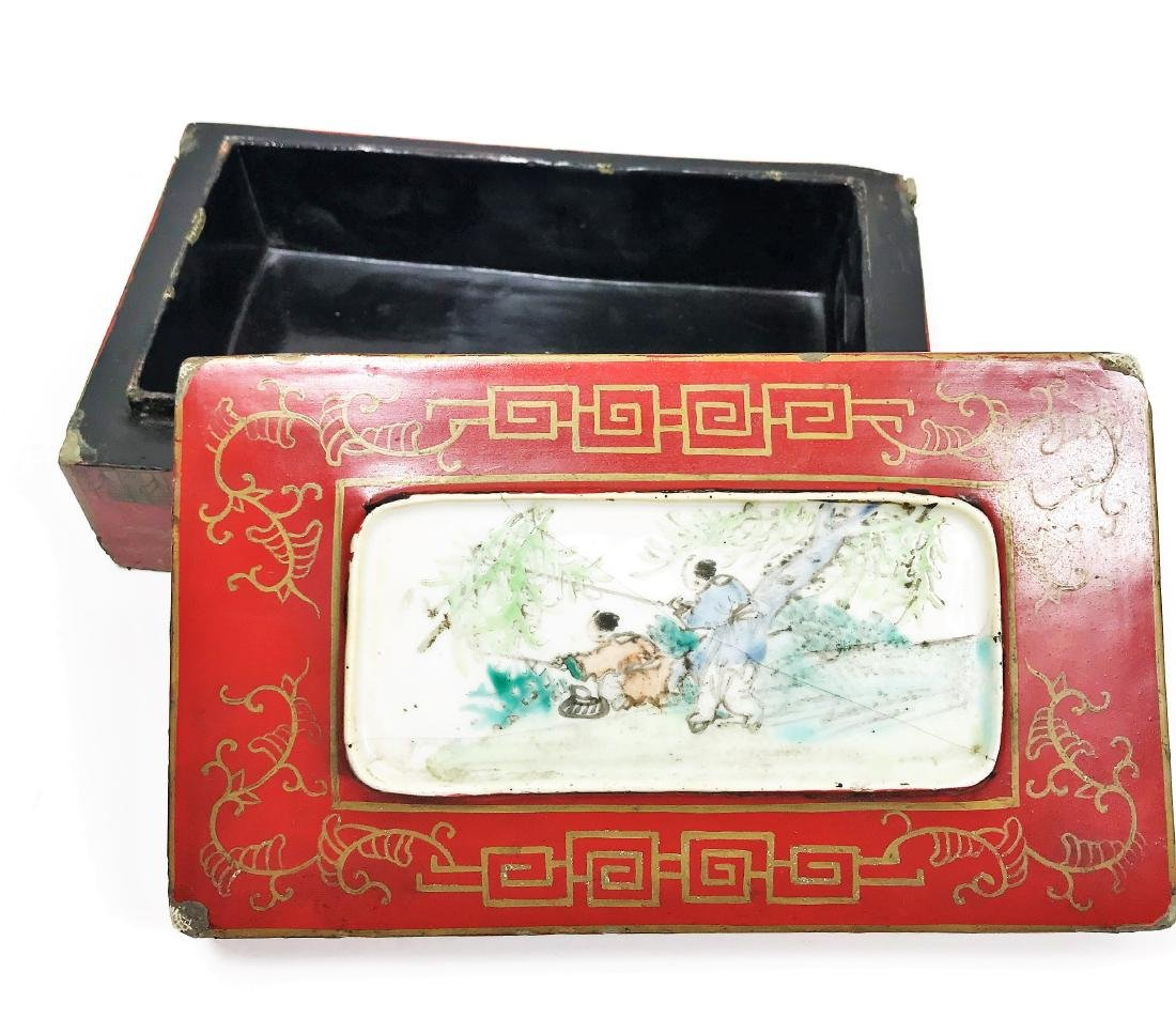 Antique Chinese Lacquer Wooden Box with Porcelain - 3