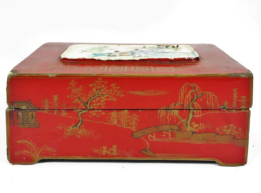 Antique Chinese Lacquer Wooden Box with Porcelain - 4