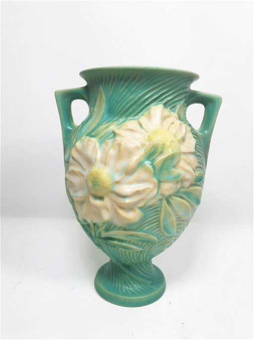 Vintage Roseville Pottery Green Peony Two Handled Vase