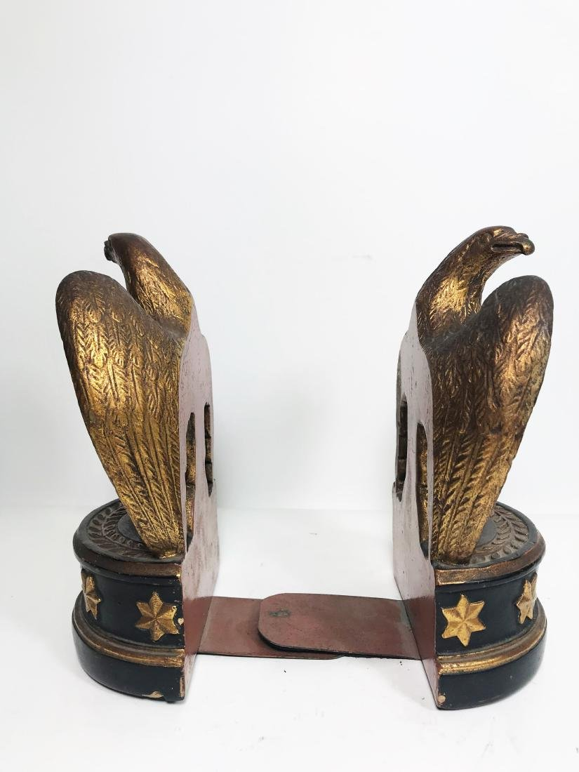 TWO ANTIQUE BORGHESE PLASTER EAGLE BOOKENDS must see - 4