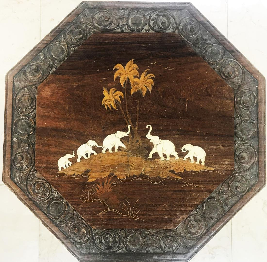 Antique Anglo-Indian Carved Inlay Hardwood Elephant