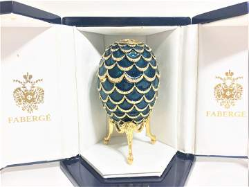 Authentic Faberge Imperial Blue Pine Cone Egg, Neiman
